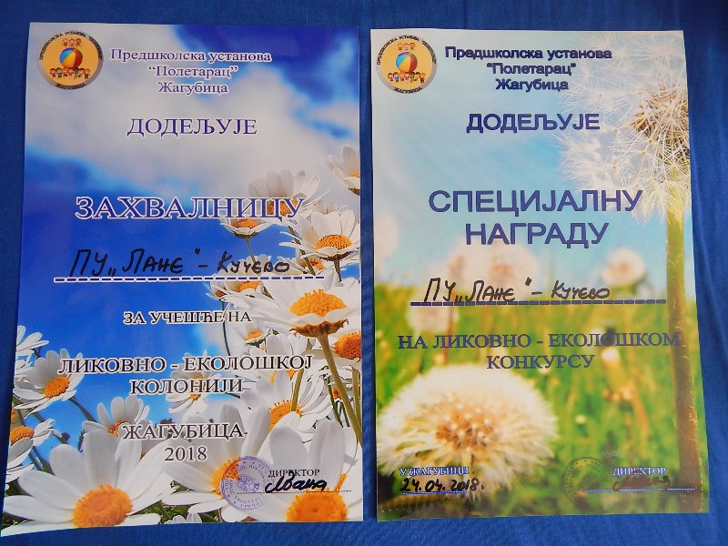 """Специјална награда за ликовно стваралаштво  предшколцима из објекта """"Сунце"""" у Жагубици"""